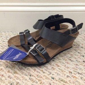 🆕Papillio by Birkenstock black ankle wedge sandal